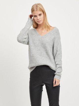 Svetlosivý melírovaný sveter VILA Disa