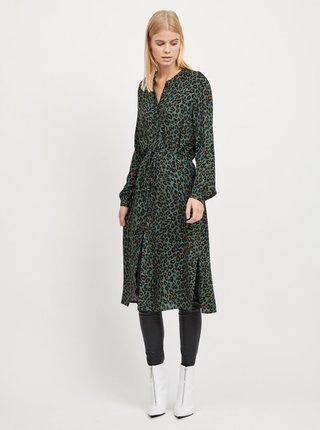 Rochie tip camasa verde inchis cu model leopard VILA Kamia