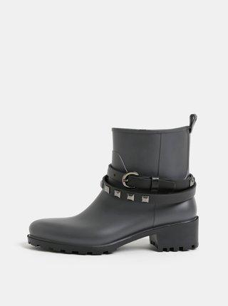 Tmavě šedé gumové kotníkové boty s páskem OJJU
