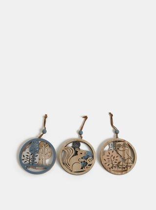 Sada tří dřevěných závěsných dekorací s motivem lesních zvířátek Kaemingk