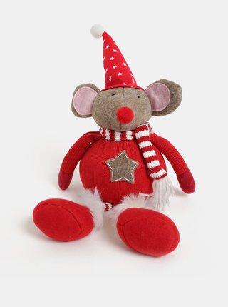 Figurina rosie de Craciun in forma de soricel purtand caciula cu motiv stele Kaemingk