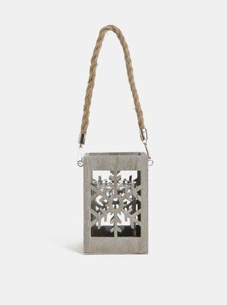 Světle šedá dřevěná lucerna s motivem vločky Kaemingk