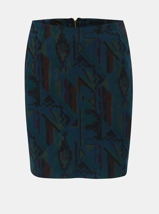 Zeleno-modrá vzorovaná pouzdrová sukně SEVERANKA