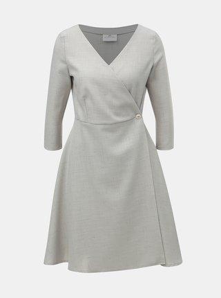 Světle šedé žíhané zavinovací šaty SEVERANKA