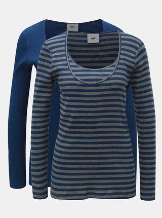 Sada dvou kojicích triček s dlouhým rukávem v šedo-modré barvě  Mama.licious