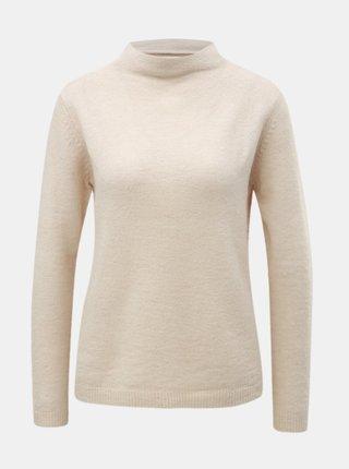 Pulover crem cu guler inalt si amestec de lana Jacqueline de Yong Roberta