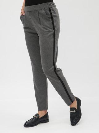 Šedé kostýmové kalhoty s vysokým pasem VERO MODA Jana Kelly