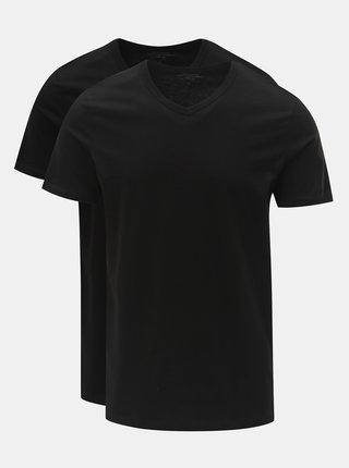 Set de 2 tricou basic negru cu decolteu in V Jack & Jones