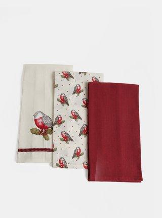 Set de trei prosoape de bucatarie alb si rosu cu motiv de Craciun Cooksmart Xmas