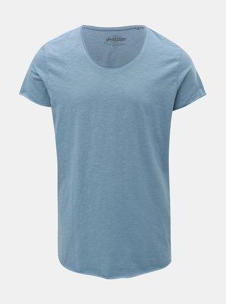 Modré basic regular fit tričko s krátkým rukávem Jack & Jones Bas