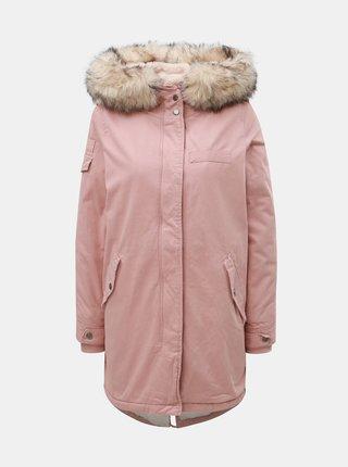 Geaca parka roz de iarna cu blana artificiala interioara ONLY May