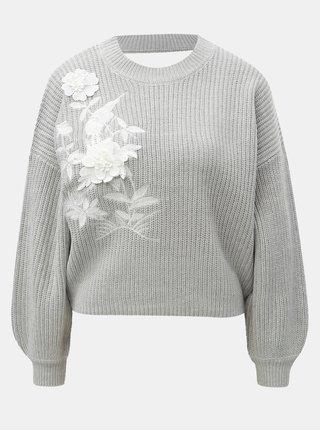 Pulover gri deschis scurt cu flori decorative si decupaj la spate Miss Selfridge