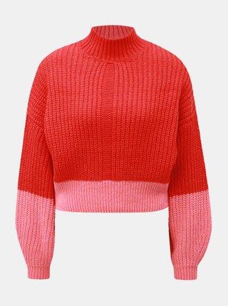 Pulover roz-rosu scurt cu guler inalt Miss Selfridge