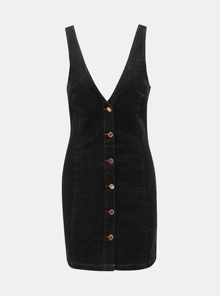 Čierne rifľové krátke šaty s gombíkmi Miss Selfridge