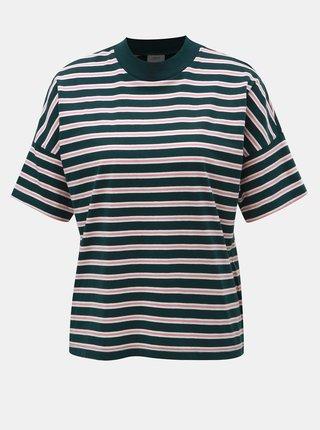 Ružovo–zelené pruhované tričko Jacqueline de Yong Maike