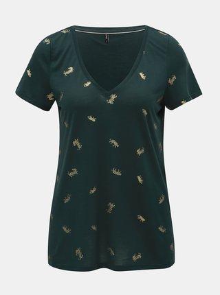 Tricou verde inchis cu imprimeu ONLY Sabella
