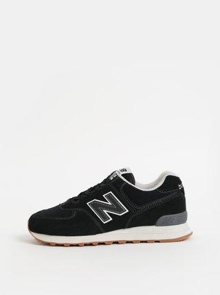 Pantofi sport barbatesti negri din piele intoarsa New Balance 574