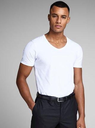 Tricou alb cu decolteu en coeur de la Jack & Jones Basic