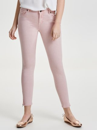 Růžové zkrácené skinny džíny se zipy ONLY Serena