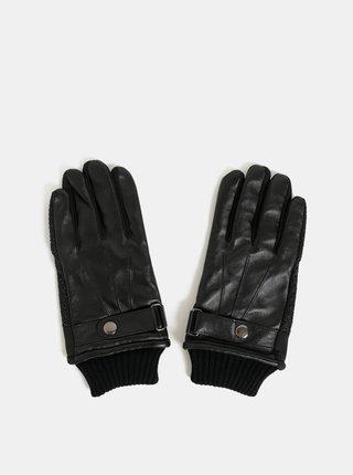 Černé dotykové rukavice s koženou horní částí v dárkové krabičce Portland