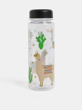Zeleno-bílá láhev na vodu s motivem lamy Sass & Belle Lima Llama
