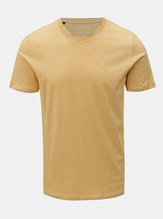 Žluté žíhané tričko s krátkým rukávem Selected Homme Perfect