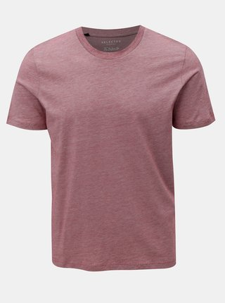 Červené žíhané tričko s krátkým rukávem Selected Homme Perfect