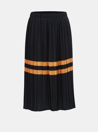 Tmavomodrá plisovaná sukňa s pruhmi VERO MODA Niti