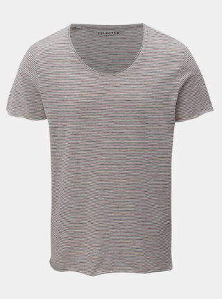 Tricou albastru-crem in dungi Selected Homme Merce
