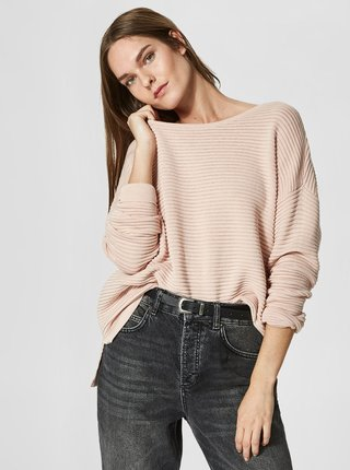 Pulover oversized roz deschis cu dungi in relief - Selected Femme Laua