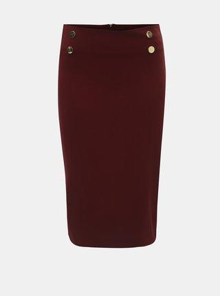 Vínová pouzdrová sukně s knoflíky ve zlaté barvě Dorothy Perkins