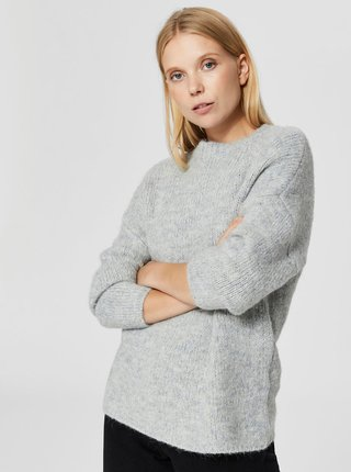 Pulover gri cu amestec de lana Selected Femme Regina