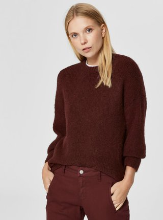 Pulover bordo cu amestec de lana Selected Femme Regina