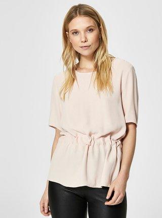 Bluza roz cu snur in talie  Selected Femme Tanna