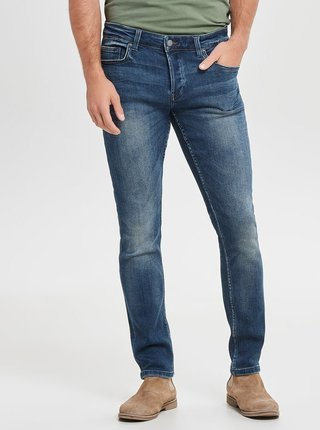 Blugi albastri slim fit din denim cu aspect prespalat ONLY & SONS