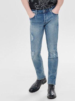Modré slim fit džíny s potrhaným a vyšisovaným efektem ONLY & SONS