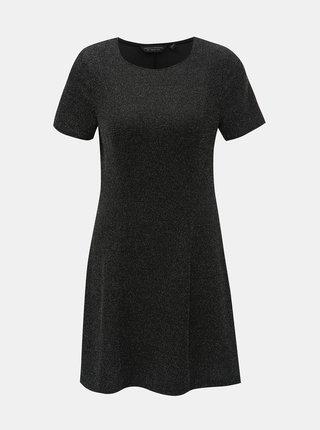 Čierne šaty s trblietavým efektom Dorothy Perkins