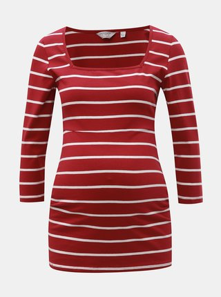 Červené pruhované těhotenské tričko Dorothy Perkins Maternity