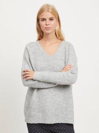 Šedý žíhaný volný svetr s příměsí vlny VILA