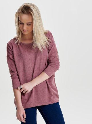 Růžový volný žíhaný svetr ONLY Elcos