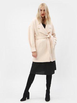Svetloružový vlnený kabát s opaskom Selected Femme Paja