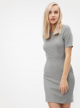 Světle šedé žíhané pouzdrové šaty s krátkým rukávem VERO MODA Mynte