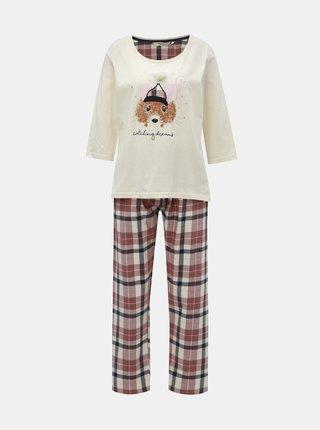 Pijama din 2 piese roz-crem cu motiv soarece Dorothy Perkins