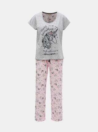 Pijama din 2 piese gri-roz cu motiv unicorn si detalii catifelate Dorothy Perkins