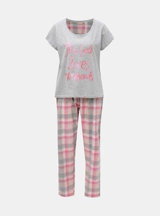 Sivo–ružové dvojdielne pyžamo s trblietavým nápisom Dorothy Perkins