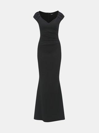 Rochie maxi neagra mulata cu decolteu in V si pliuri laterale ZOOT