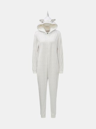 Biely pyžamový overal s motívom jednorožca Dorothy Perkins