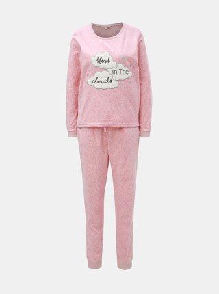 Pijama din 2 piese roz din fleece cu motiv nori Dorothy Perkins