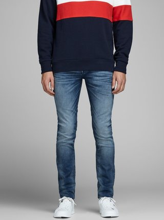 Blugi slim fit albastri cu aspect prespalat - Jack & Jones Glenn