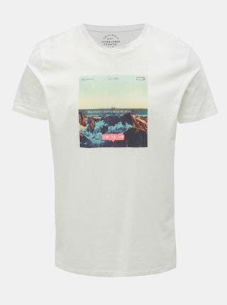 Biele tričko s potlačou Jack & Jones Social